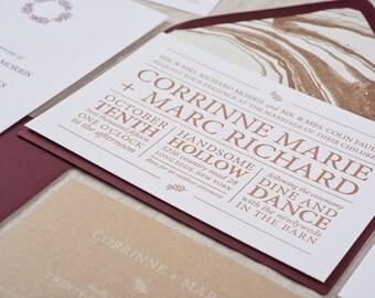 Hudson Letterpress Invitation Suite SAMPLE   Modern Typography   Kraft and Fig   Clean + Classic Design   Sample Only