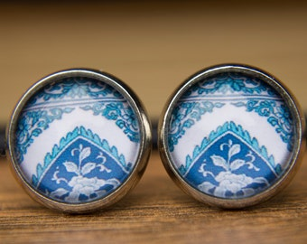 Blue Earrings, Chinese Porcelain, Blue and White, Stud Earrings, Post Earrings, Studs, Small Studs, Glass Dome Earrings.China Blue