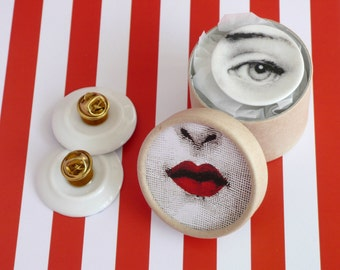Face Brooch, Eye Pin, Miniature Doll House Pin, Lina Cavalieri, Porcelain Plate Jewelry, Black and White Accessory - Choose from 8 Designs