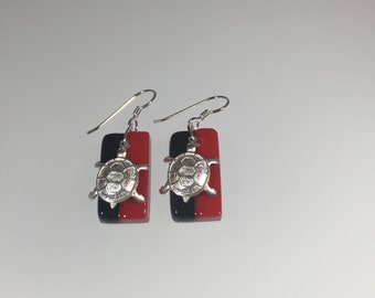 Terrapin Earrings, UMD, Testudo, Terps, red and black, College Park, Spirit Wear, Fused Glass, sterling silver