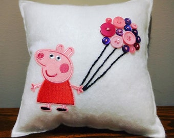 Peppa Pig Inspired Button Pillow
