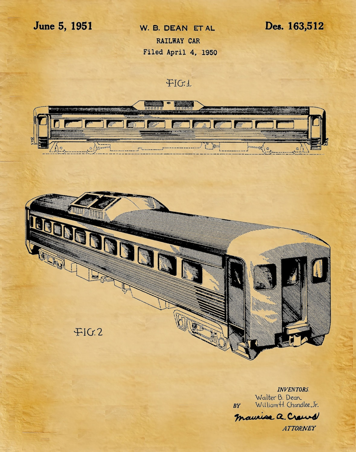 Patent 1950 Locomotive Rail Car - Art Print - Train Rail Car Patent ...