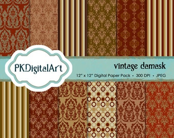 Vintage Damask in Rich Brown digital scrapbook paper; instant download backgrounds and textures