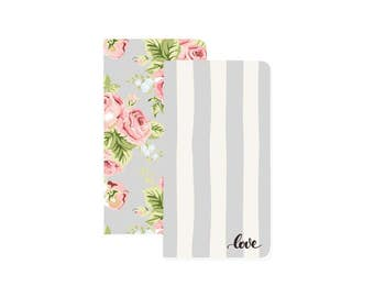 Color Crush - Travellers Notebook - Love Stripe & Floral Gray - Planner, Notepad, Notebook