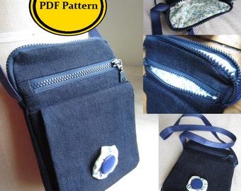 Cross Body Bag Sewing Pattern, Pdf digital download