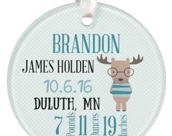 Ceramic Ornament Christmas Ornament Baby Ornament Moose Ornament 1st Christmas Ornament Boy Ornament Baby Shower Gift RyElle