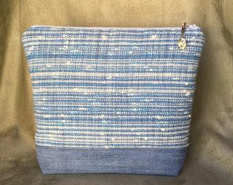 Handwoven Cotton & Denim Knitting Crochet Wedge Project Bag - Medium