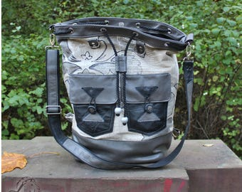 Backpack, shoulder bag, shoulder bags, Weekender, Upcycling, leather, cotton