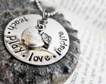 Hand Stamped Teacher Gift Necklace with Silver Apple Charm - Teach Play Love Inspire