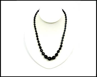 Graduated Black Crystal Necklace, Faceted Black Crystals, Black Crystal Choker, Black Choker, Mad Men Style, Gift For Her, Gift for Mom