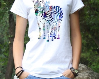 Colorful Zebra Tee - Art T-shirt -  Fashion Tee - White shirt - Printed shirt - Women's T-shirt