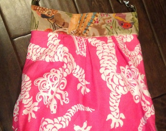 Pink cotton and velvet tote