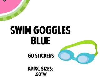 Swim Goggles-BLUE Stickers | 60 Kiss-Cut Stickers | Swim Team, Swim Practice, Swim Class, Exercise | CA056