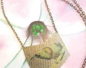 Hand Cut Vintage Bird Tin Necklace