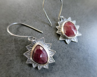 Natural Ruby Stamped Silver Earrings
