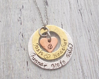 Family Necklace With Names, Mom Necklace, Wife Necklace, Couples Jewelry, Name Necklace, Name Jewelry, Children's Name Necklace, Mom Gift