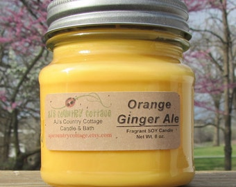 ORANGE GINGER ALE Soy Candle - Scented Candles, Citrus Candles, Spring Candles, Summer Candles