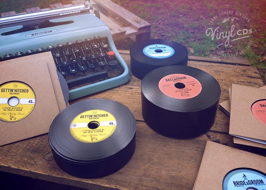 Record Wedding Invitations: Vintage Vinyl Record CD's. Unique Wedding Invites