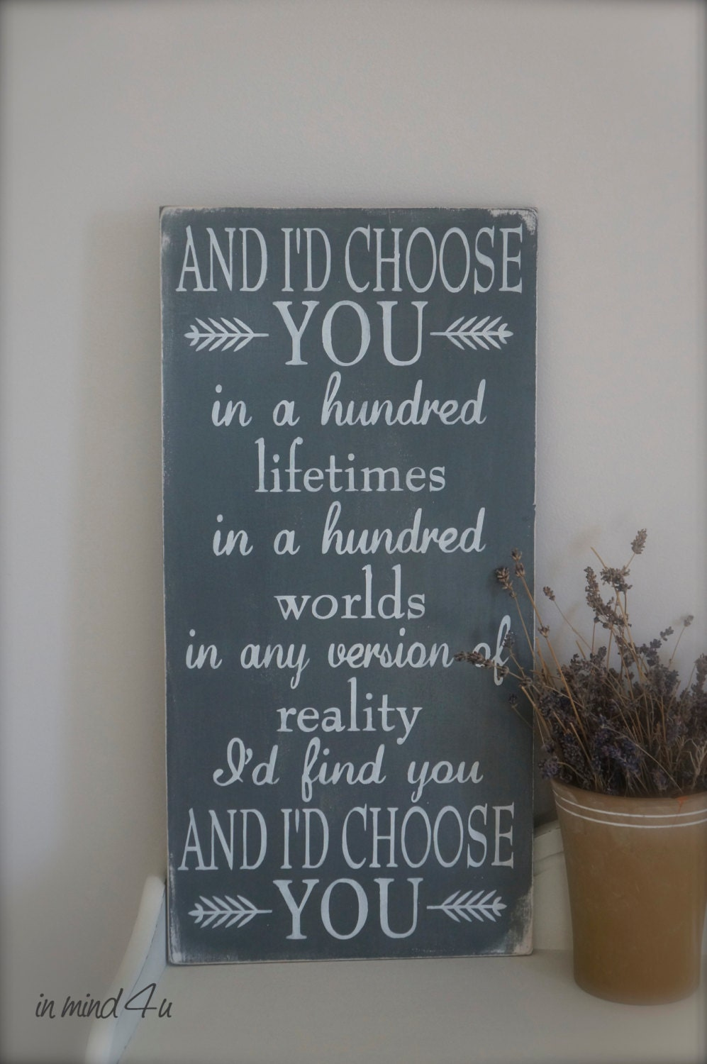 Love Quotes Wall Art I'd Choose You Quote Love Quote Custom Wood Sign Love
