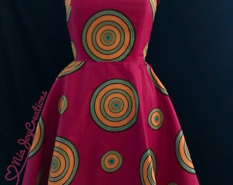 African Clothing: Nakai  African Print Skater Dress Ready To Ship Size L