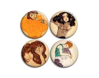 "Egon Schiele - pinback badge buttons or magnets 1.5"""