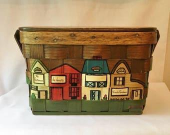 Vintage Caro Nan Woven Wooden Basket Purse European Ireland Greece England Tourist Sites Featured