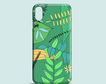 Green Leaves mobile phone case / iPhone X, iPhone 8, iPhone 7, 7 Plus, iPhone SE, iPhone 6S, iPhone 6, iPhone 5S/5 / cute phone case