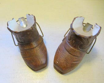 Brown Ceramic Cowboy Boot Ashtrays. Set Of Two