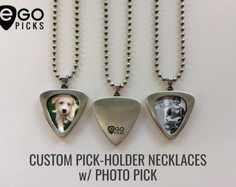 "EGOpicks 24"" Pick Holder Necklace w/ Custom PHOTO GUITAR PICK"