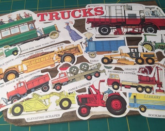 Vintage Book Pages Trucks Childrens Book Pages Journal Supplies Truck Auto Paper Old Paper Ephemera Mixed Media Scrapbookin Vehicle Fun
