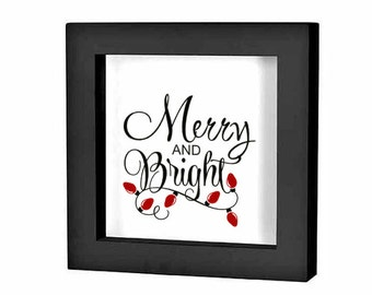 Christmas Shadow Box Decal Christmas Decoration Merry and Bright Vinyl Decal Holiday Sign Christmas Decal Holiday Plate