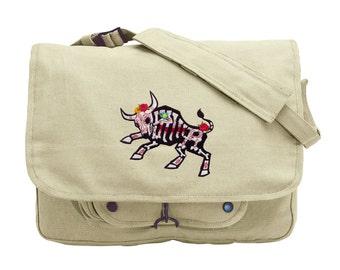 Toro Muerto Embroidered Canvas Messenger Bag