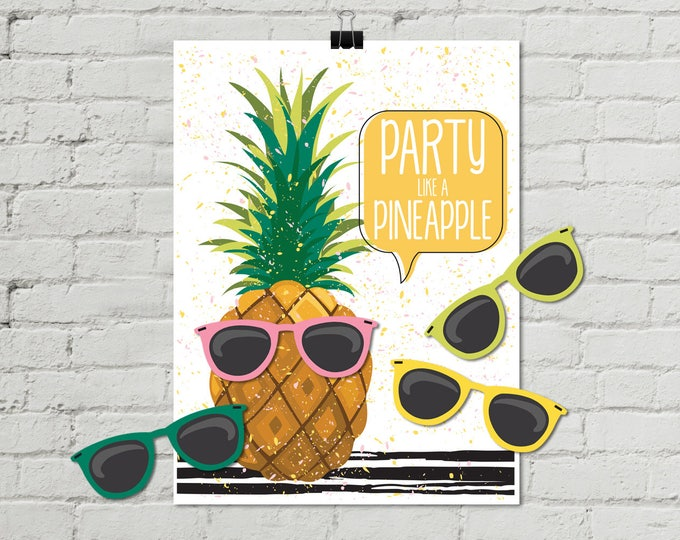 """Pineapple Party - 18""""x24"""" Pin the Sunglasses Game - Party Like a Pineapple, Birthday Party, Summer 