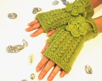 Lime Green Fingerless Gloves, Wool Mohair Mittens, Arm Warmers with  flowers, Hand Knitted, Eco Friendly