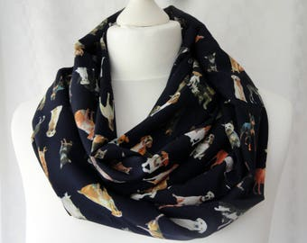 Doggy print infinity scarf, Gift for dog lover, Circle scarf, Scarf with cute doggy print, Gift for animal lovers, Lightweight scarf