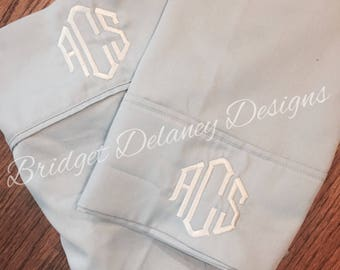 Monogrammed pillowcases, set of 2