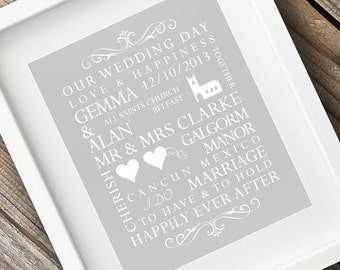 Personalised Wedding Print / Wedding Gift / Marriage / Couples / Engagement
