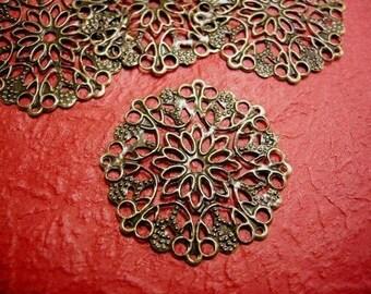 10pc 29mm antique bronze filigree wraps-3584