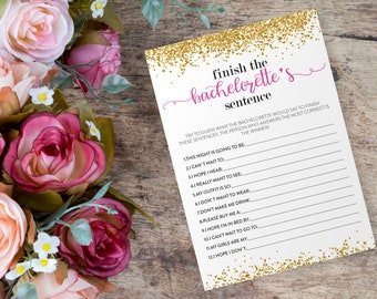 Trending Now - Finish The Bachelorette's Sentence - Bachelorette Party Game - Bachelorette Game- Gold - Instant Download - DIY