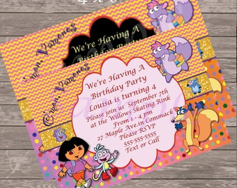 Dora the Explorer Birthday Party Invitation /Dora Party / Dora Invite - Printable -5 x 7 or 4 x 6 size - I add Info - You Print - 2 diff bkg