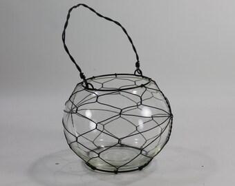 Hurricane, Candle Holder, Industrial Hanging Flower Vase, Terrarium, Glass & Metal Vase, Lantern, Glass Caged w/ Metal Wire, FREE SHIP