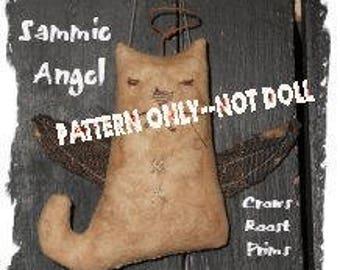 Angel Cat  epattern-NOT DoLL, Crows Roost Prims 328e Primitive Sammie epattern  immediate download