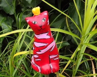 Garden plug Cat, cat figurine hand painted, cat pottery, cat lover gift, ceramic cat red, cat with crown