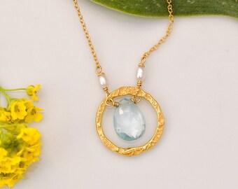 December  Birthstone necklace - Blue Topaz Necklace - 22k Gold Vermeil necklace - Hammered Circle Necklace- 14k Gold Filled