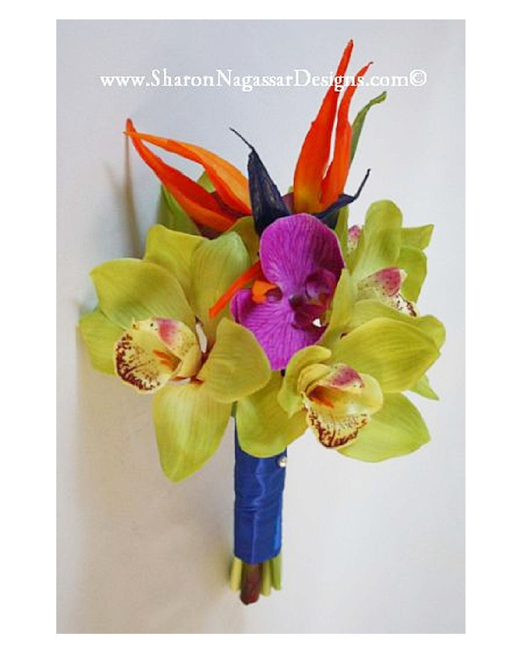 Orange/blue, Bird of paradise, lime/green, fuchsia/pink, orchids ...