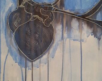 Blue Heart Composition No. 1 Original Painting, Wall Art, Medical, Anatomy, Heart