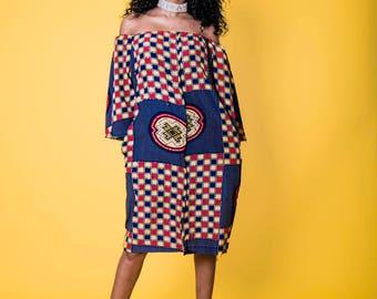 Off shoulder silk ankara print dress