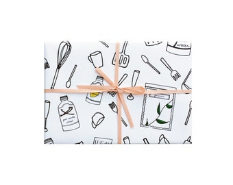 Cooking Wrapping Paper, Utensils Wrapping Sheets, Kitchen Gift Wrap, Cooking Gift Wrap, Kitchen Wrapping Paper