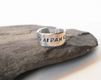personalised cuff ring, hand stamped aluminium cuff ring,  adjustable ring, open ring, customised ring, mens ring, womens ring