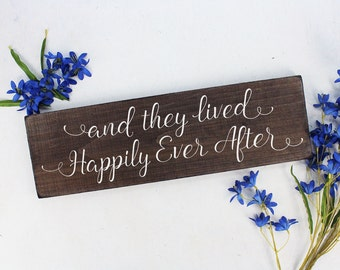 FREE SHIPPING And they lived happily sign And they lived happily ever after sign Rustic Here Comes the Bride Sign Rustic Wedding Sign